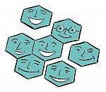 Cartoon illustration of many hexagonal smiling faces