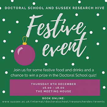 Doctoral School & Research Hive Festive Event Flyer