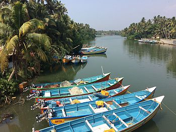 Fishing boats docked in the safety of a local lagoon in Anchuthengu village in Thiruvananthapuram