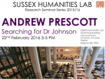 Poster advertising seminar given by Andrew Prescott
