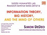 Poster advertising seminar given by Simon DeDeo