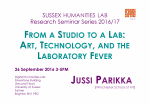 Poster advertising seminar given by Jussi Parikka