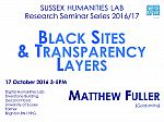 Poster advertising seminar given by Matthew Fuller