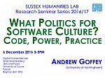 Poster advertising seminar given by Andrew Goffey