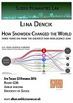 Poster advertising seminar given by Lina Dencik