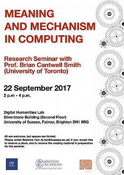 Poster advertising seminar given by Brian Cantwell Smith