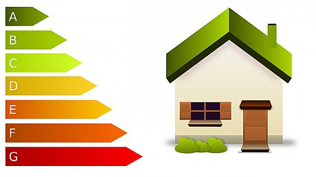 A graphic showing an energy efficiency chart and a home
