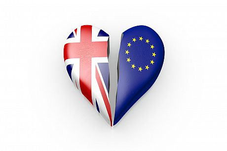 Picture of heart split in two, one side Union flag, the other that of the EU
