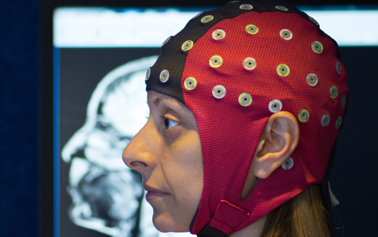 Person with EEG cap