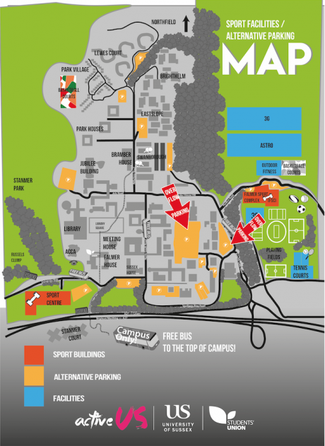 A map showing overflow car parks on campus