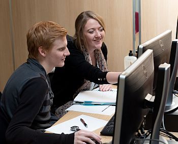 students testing the latest marketing simulation software