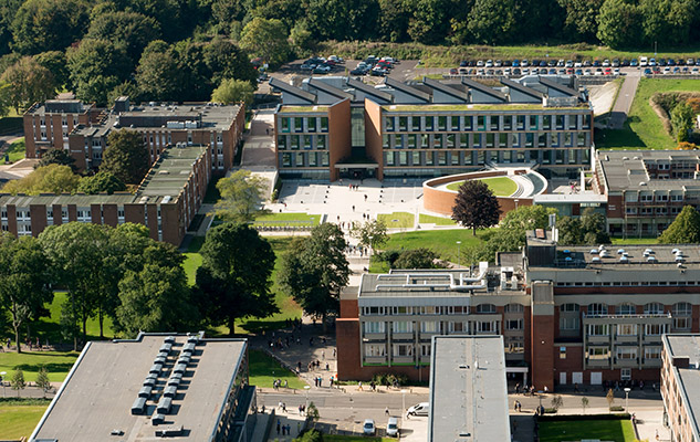 An aerial view of part of the University of Sussex campus