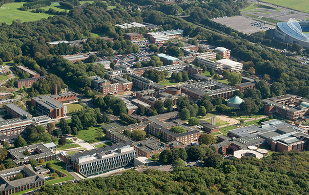 An aerial view of most of the University of Sussex campus