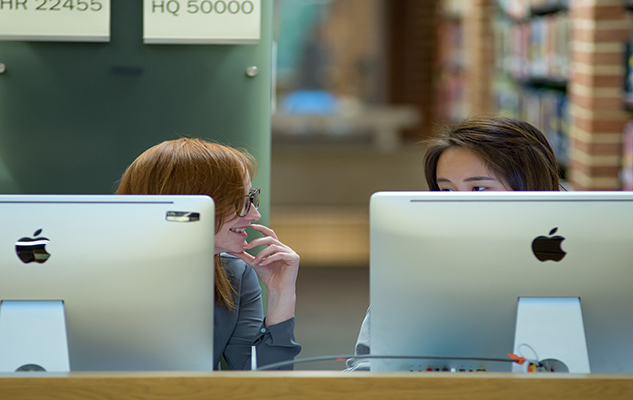 Students on computers in the library at the University of Sussex