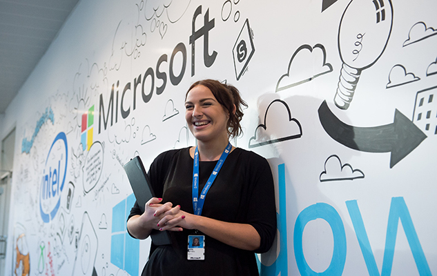 A student on a placement at Microsoft during her course at the University of Sussex