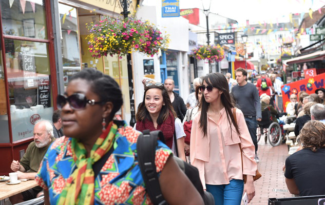 Students walking in North Laine, Brighton