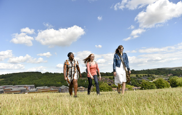 Students walking over the South Downs at the University of Sussex
