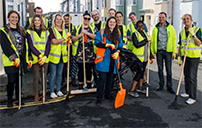 Students at the University of Sussex street clean