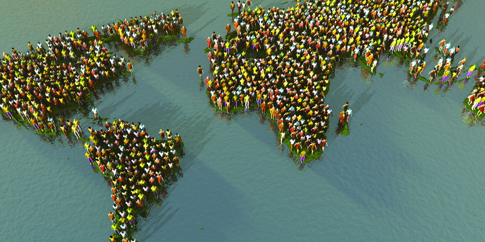 An image of the world map made of standing people, representing research in Strategy and Marketing