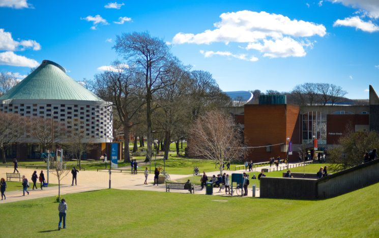 A sunny day on campus showing Library Square and Meeting House