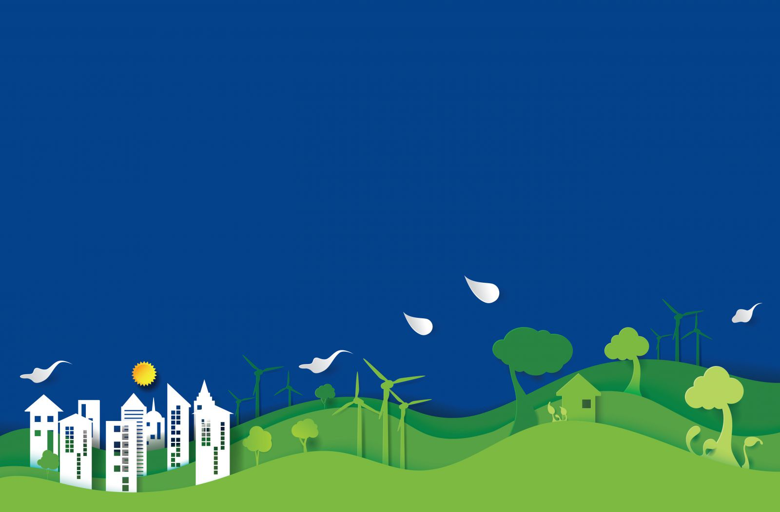Paper cut-out style illustration of some country-side hills, wind turbines and a city based in the hills