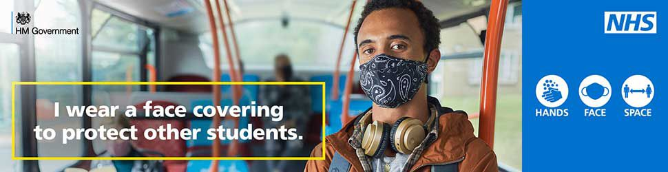 Government advert stressing the importance of wearing a mask to protect other students