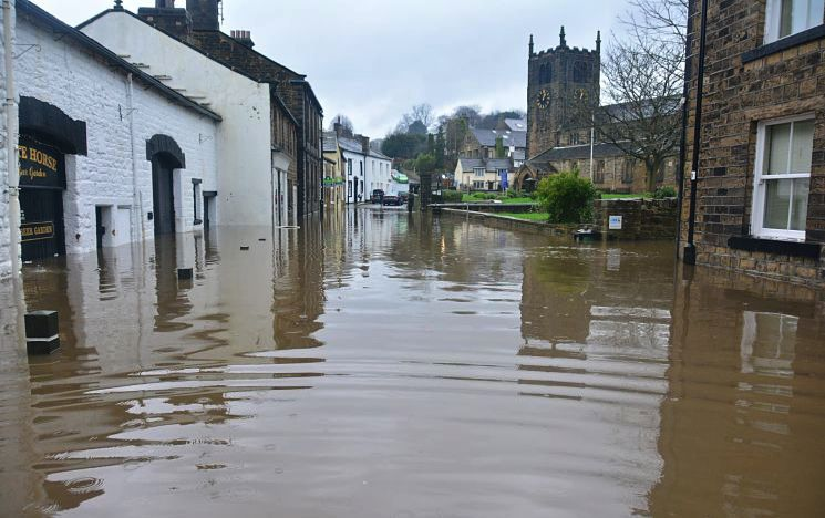 Flooded village in England