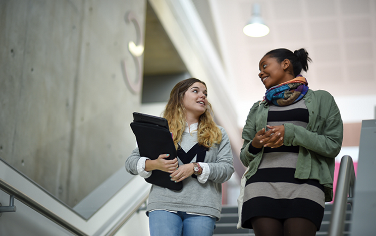 Two students walking down a flight of stairs chatting