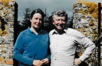 Sir Leslie Fielding, pictured with his wife Dr Sally Harvey