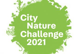 A green circular logo. The circumference of the circle is made up of various animals and plants, such as foxes and birds, and buildings. The centre of the circle says 'City Nature Challenge 2021'.