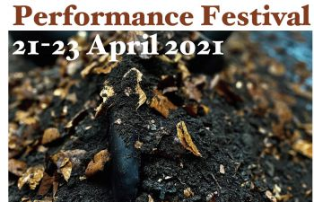 Soil on a tarpaulin (advertising a piece in the drama festival)