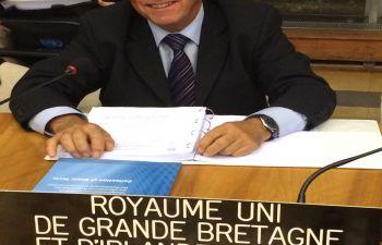Professor Ivor Gaber representing the UK at a UN summit