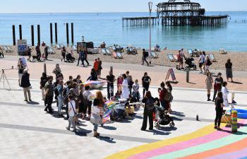 Soapbox Science 2019 taking place on the Brighton seafront
