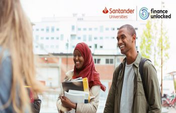 Image of two students promoting Santander Black Inclusion Programme