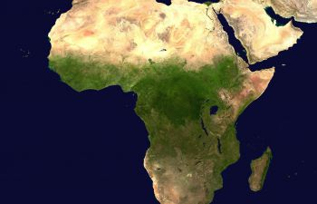 The continent of Africa as seen on a world map.