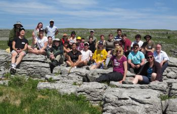 A group of students and staff on the Yorkshire Dales as part of the field course