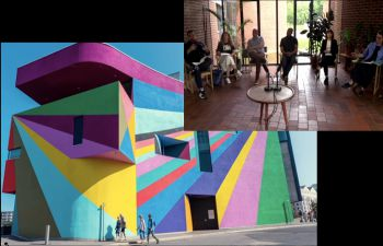 Very brightly coloured building (main image) and 6 people sitting on chairs in top right hand corner