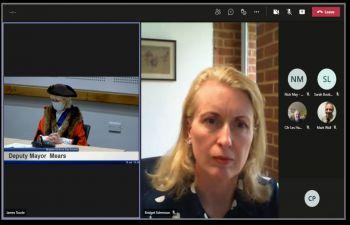 Bridget Edminson and Deputy Mayor at a virtual meeting of Brighton & Hove City Council
