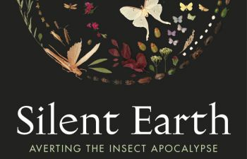 The book jacket for Dave Goulson's Silent Earth - black background with a circle made up of illustrations of brightly coloured insects.