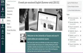 The online pre-sessional course Canvas page