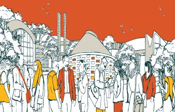 Illustration of campus on an orange background for Sussex Connect