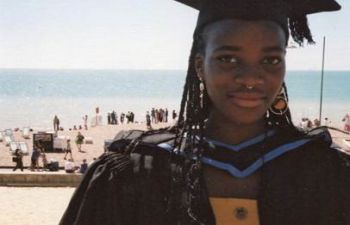 Picture of Fezile Sibanda in graduation gown, awardee of ESW's BAME doctoral scholarship 2021/22