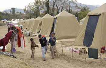 Kids playing in a camp of refugees