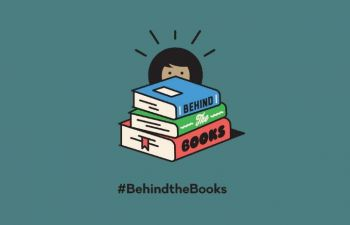 A graphic showing a stack of three books and a person with dark hair peeking out behind them, against a dark teal background. The text reads #BehindtheBooks underneath.