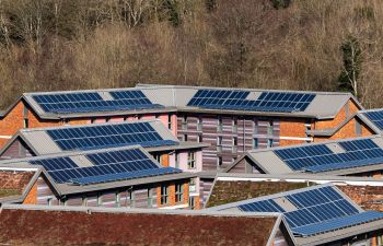 An aerial image showing a number of solar panels on the roofs of university buildings