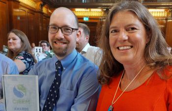 Professor Mathews holding the award at the CIEEM Award ceremony in London