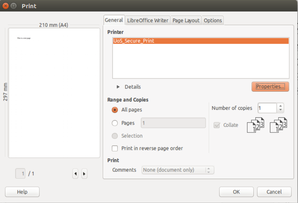 linux printing options