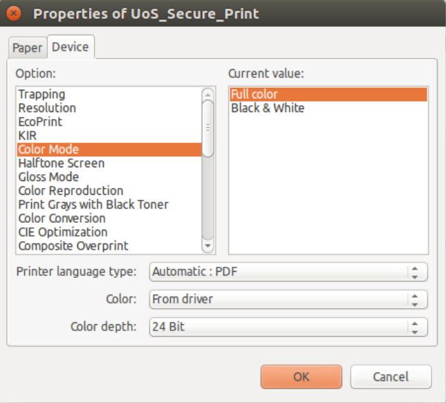 linux printing options, colour or black and white