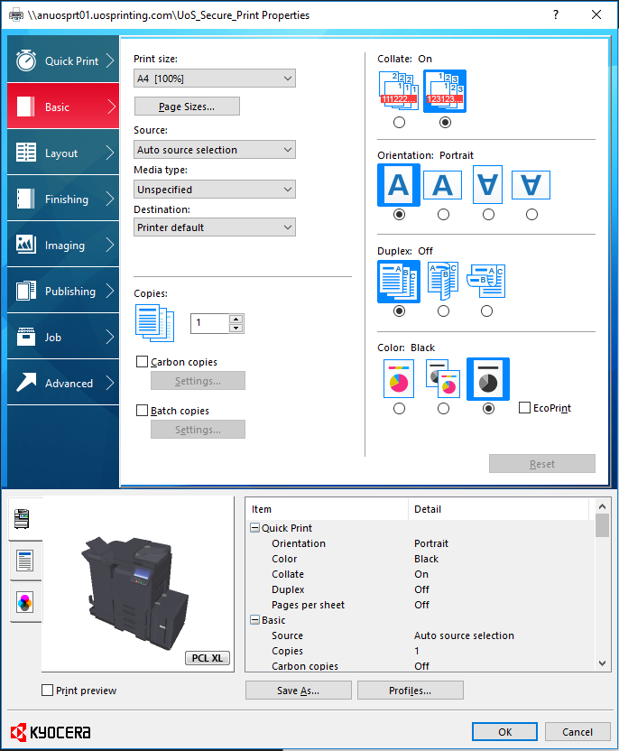 Windows Printer properties screen