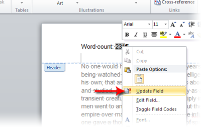 2595 how can i automatically insert the word count into my word
